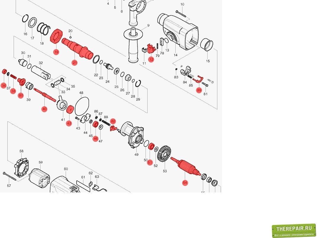 Макита 2450 схема сборки ствола